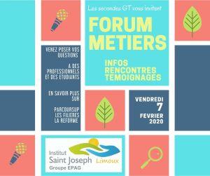 FORUM DES METIERS le 7 février : INVITATION PARENTS!